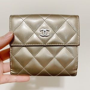 Authentic Chanel Patent Quilted CC French Wallet
